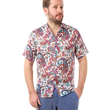 LailaAda by Cacala Nice Men's Button-Up Beach Shirt, Short Collar, Breathable Cotton, Floral Pattern
