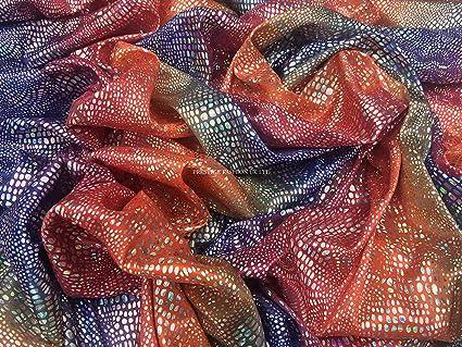 Sábana bajera de tela holograma diseño de arco iris multicolor de piel de serpiente de Lycra