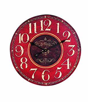 Creative Co Op Wooden Wall Clock, Red