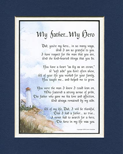 amazon com my father my hero a father s day gift poem 60th 70th