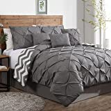 Geneva Home Fashion Avondale Manor 7-Piece Ella Pinch Pleat Comforter Set, King, Grey