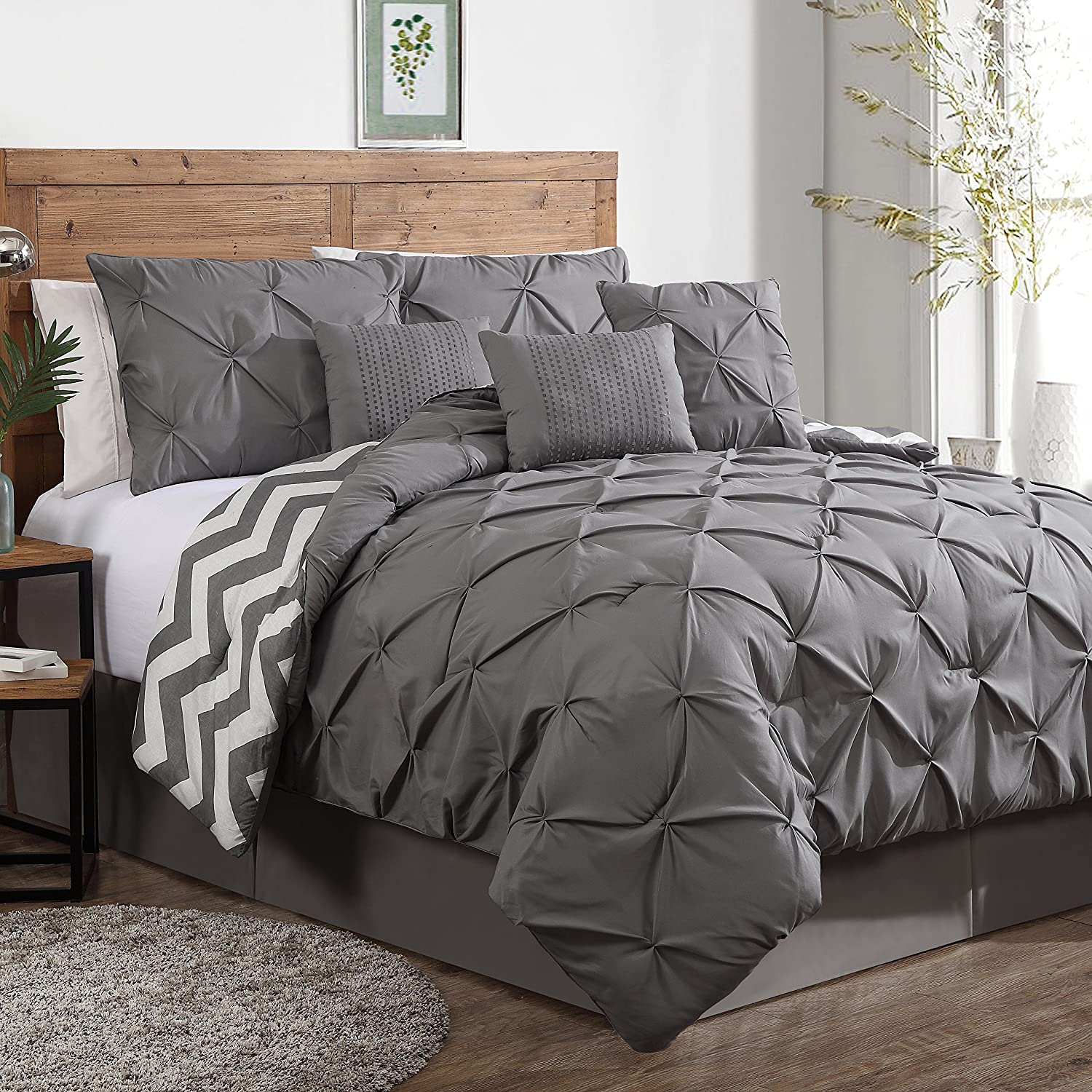 Geneva Home Fashion 7-Piece Ella Pinch Pleat Comforter Set, Queen, Grey ELL7CSQUENGHGY