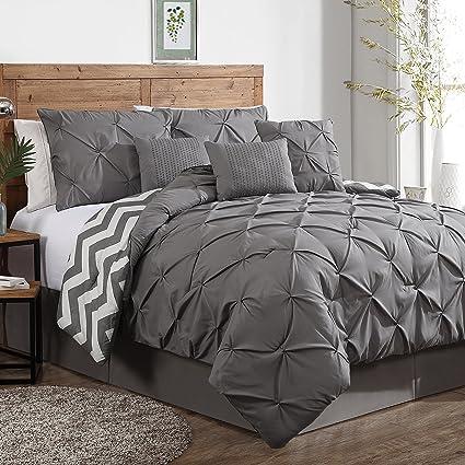 Comforter Sets Queen.Avondale Manor 7 Piece Ella Pinch Pleat Comforter Set Queen Grey