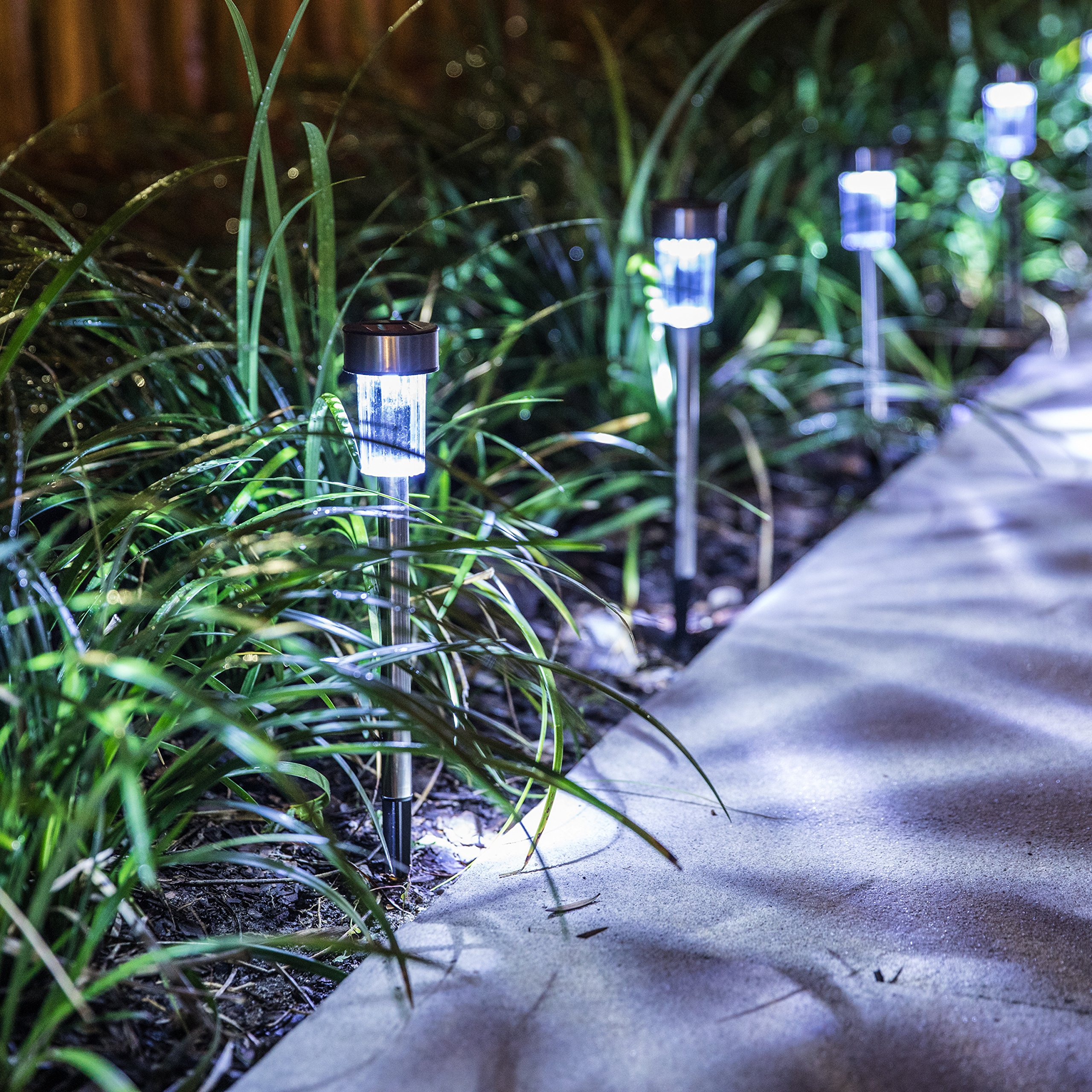 Logical Luxury Decorative Outdoor Solar Garden Lights (10 Pack) enhances Pathways driveways patios and gazebos; Classic Simple Stainless Steel Design; Soft White LED Powered; Water/Weatherproof by Logical Luxury (Image #5)