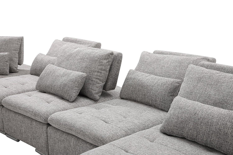 US Livings Mira Modern Living Room Fabric 6-Piece Modular Sofa Set (6, Wolf Grey)