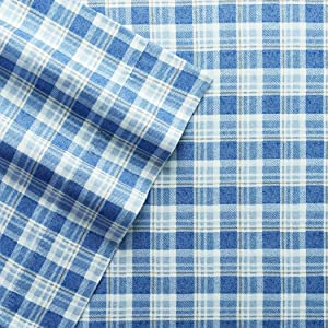Columbia Warm & Cozy Flannel Sheet Set – 100% Cotton Ultra Breathable - Moisture Wicking - High-Performance Flannel 4 Piece Sheet Set (Full, Blue Multi-Plaid)