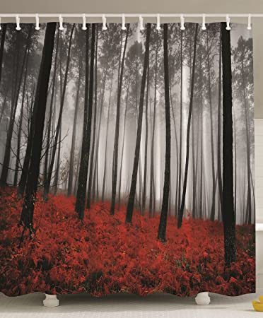 Red Extra Long Shower Curtain Mystic Forest Red Grass Primitive Art Flower  Rainy Gray Foggy Scene