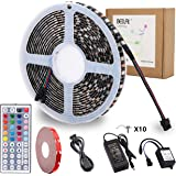 RGB LED Strip Lights Kit,BEILAI RGB LED Light Strip Waterproof SMD 5050 DC 12V Flexible Neon Tape 16.4 Ft (5M) 300leds with 44key Controller for Christmas Kicthen Party Indoor and Outdoor decoration