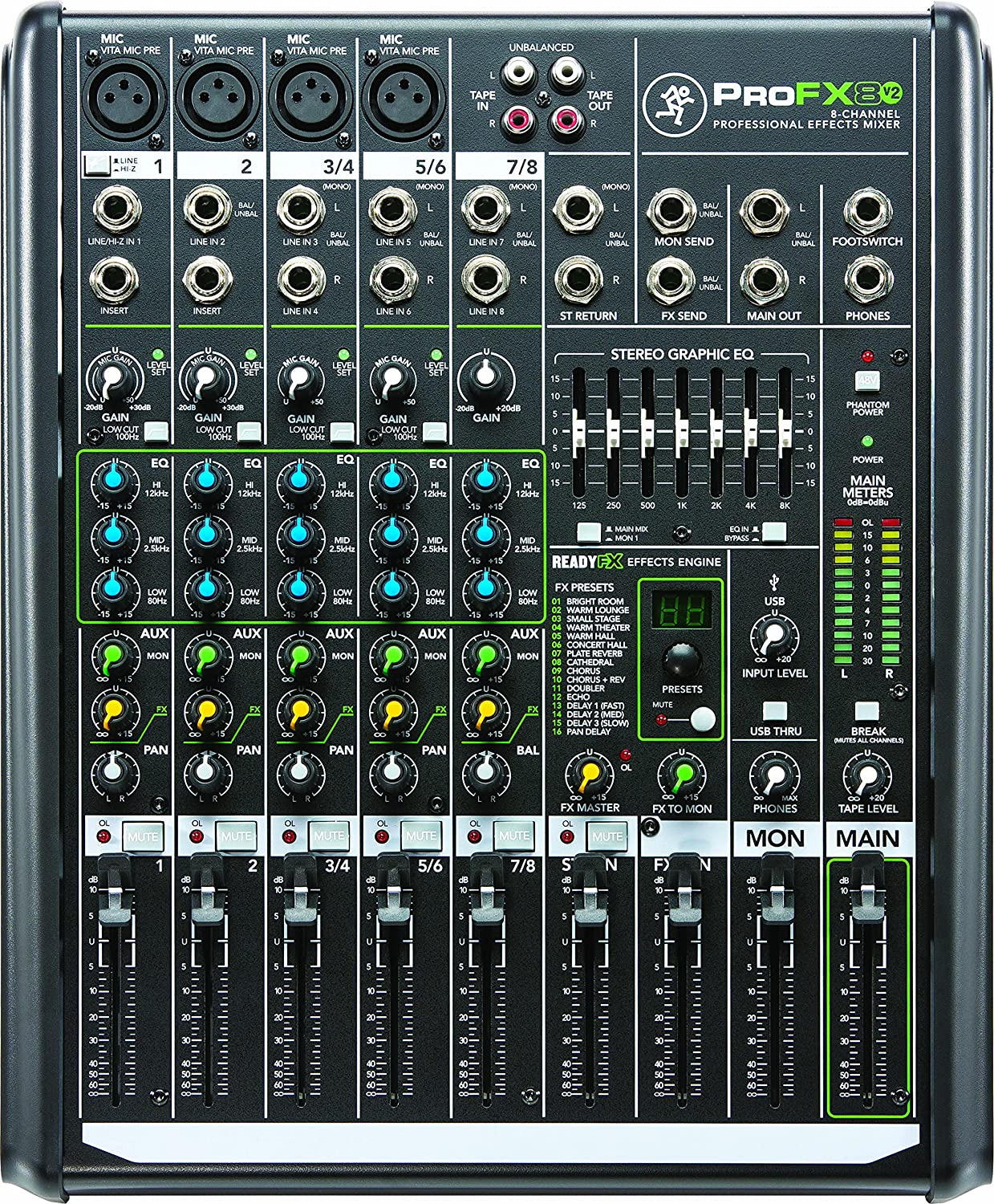 Mackie Profx8v2 8 Channel Compact Mixer With Usb And Audio Mixers Projects Circuits 7 Effects Musical Instruments