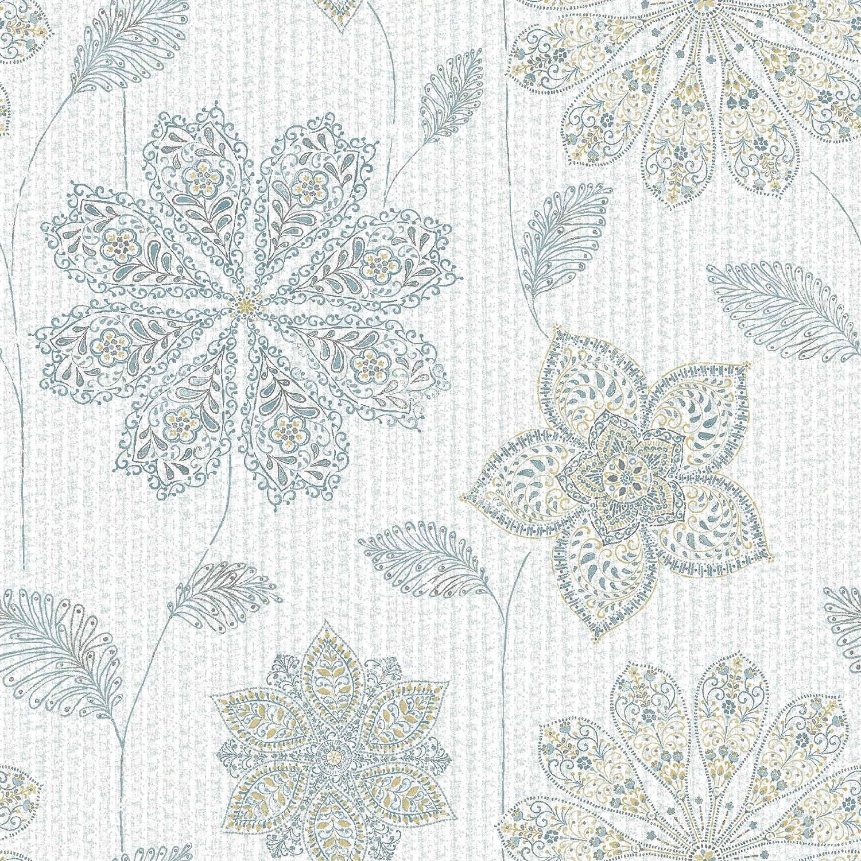 NuWallpaper NU1697 Gypsy Floral Blue Green Peel & Stick Wallpaper