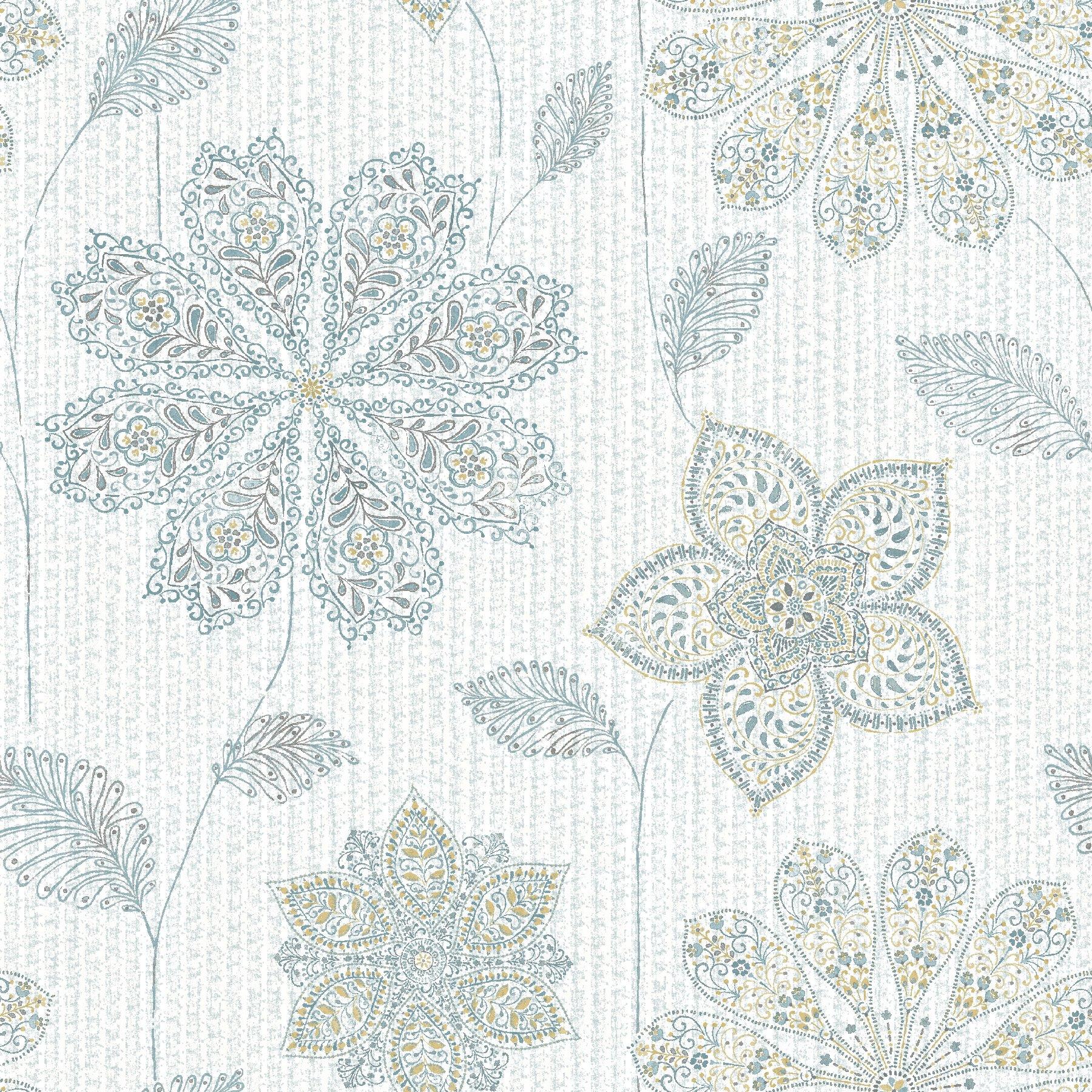 NuWallpaper NU1697 Gypsy Floral Blue/Green Peel & Stick Wallpaper