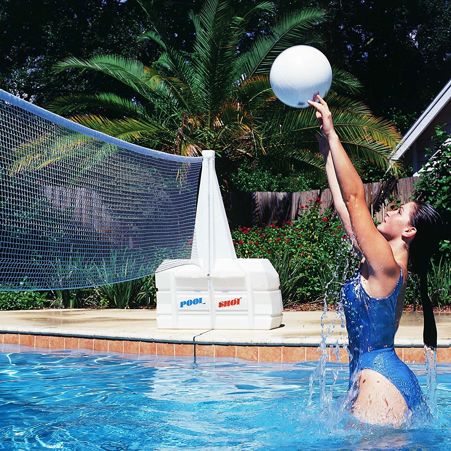 Amazon Com Pool Shot Super Water Volley Swimming Pool Volleyball Net Toys Games