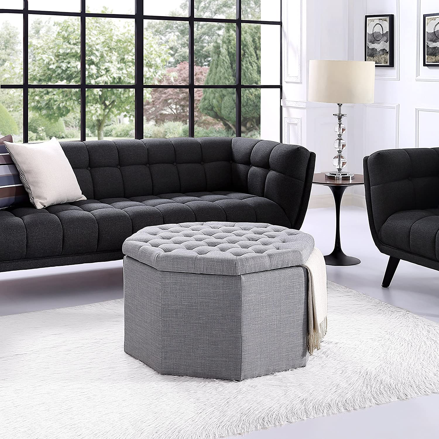 Amazon com inspired home silvia grey linen storage ottoman cocktail coffee table upholstered tufted modern octagon kitchen dining