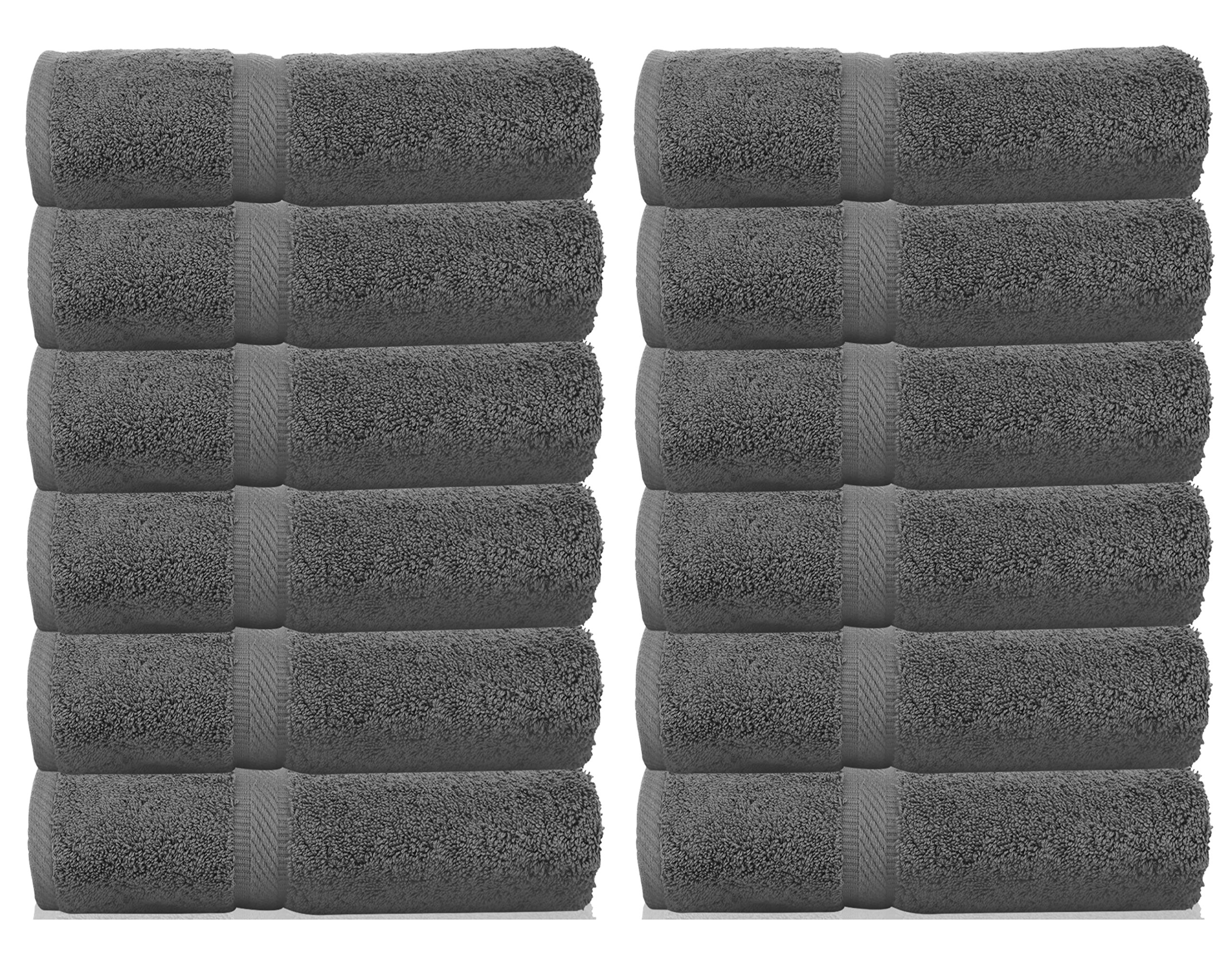 White Classic Luxury Washcloths for Bathroom-Hotel-Spa-Kitchen-Set - Circlet Egyptian Cotton - Highly Absorbent Hotel Quality Face Towels - Set of 12 (Washcloths 13x13, Grey)