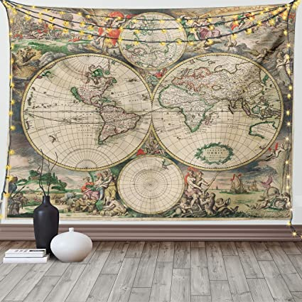 Ambesonne Vintage Tapestry, Antique Old Aged Map of The World Historical Geography Theme Retro Design, Wide Wall Hanging for Bedroom Living Room Dorm, 80