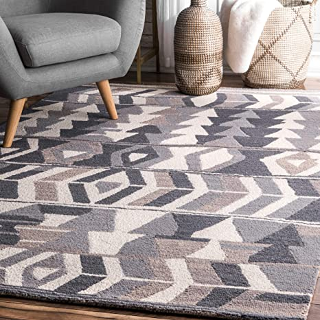 Amazon Com Nuloom Ofelia Hand Tufted Wool Area Rug 5 X 8 Grey Furniture Decor