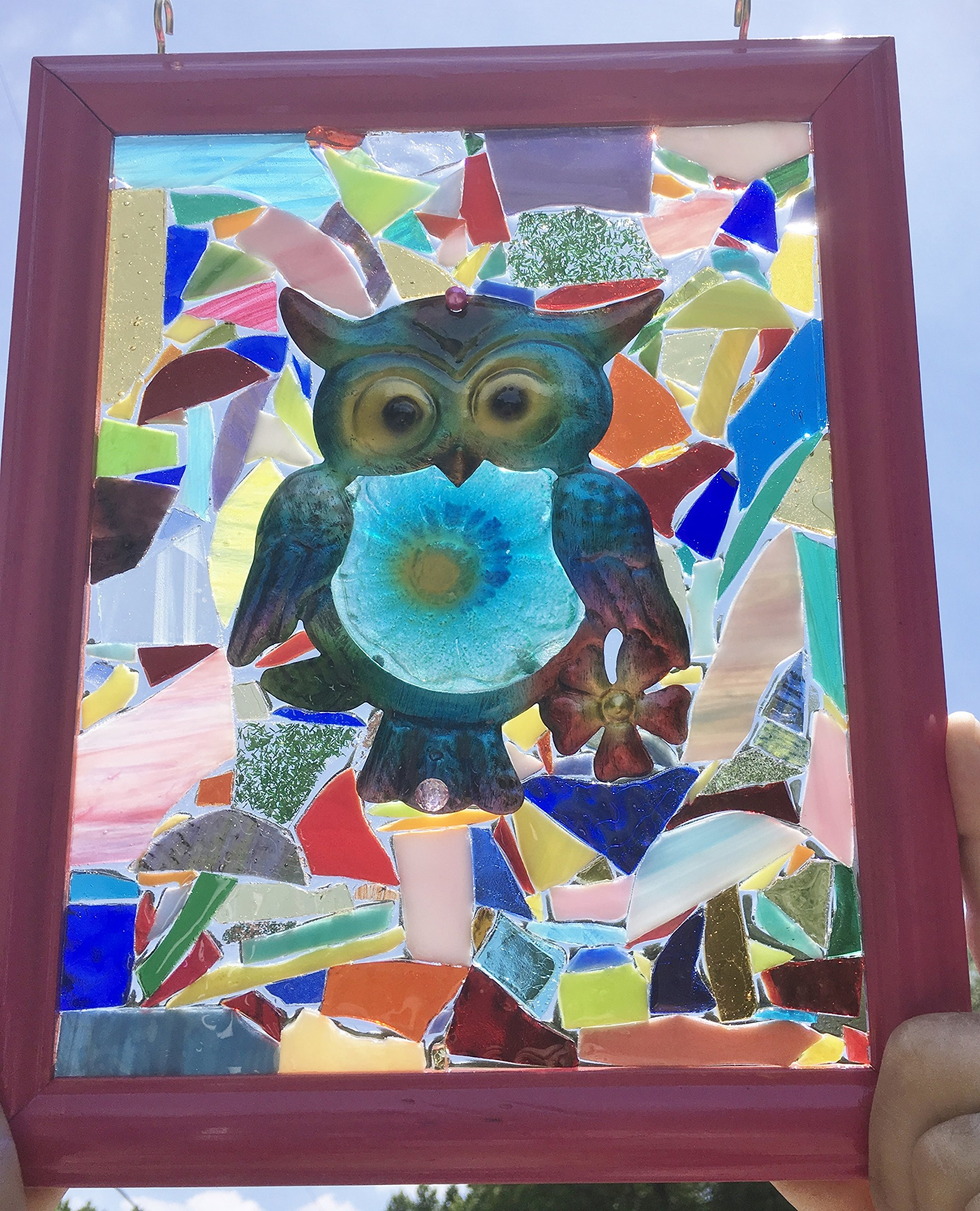 Owl stain glass window art suncatcher