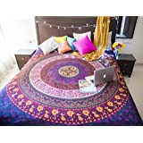 Folkulture Retro Spectrum Bohemian Hippie Tapestry Wall Hanging for College Dorm Room, Indian Mandala Floral Bedding Bedspread for Bedroom or Beach Blanket, Queen Size Blue Purple Boho Trippy Spread