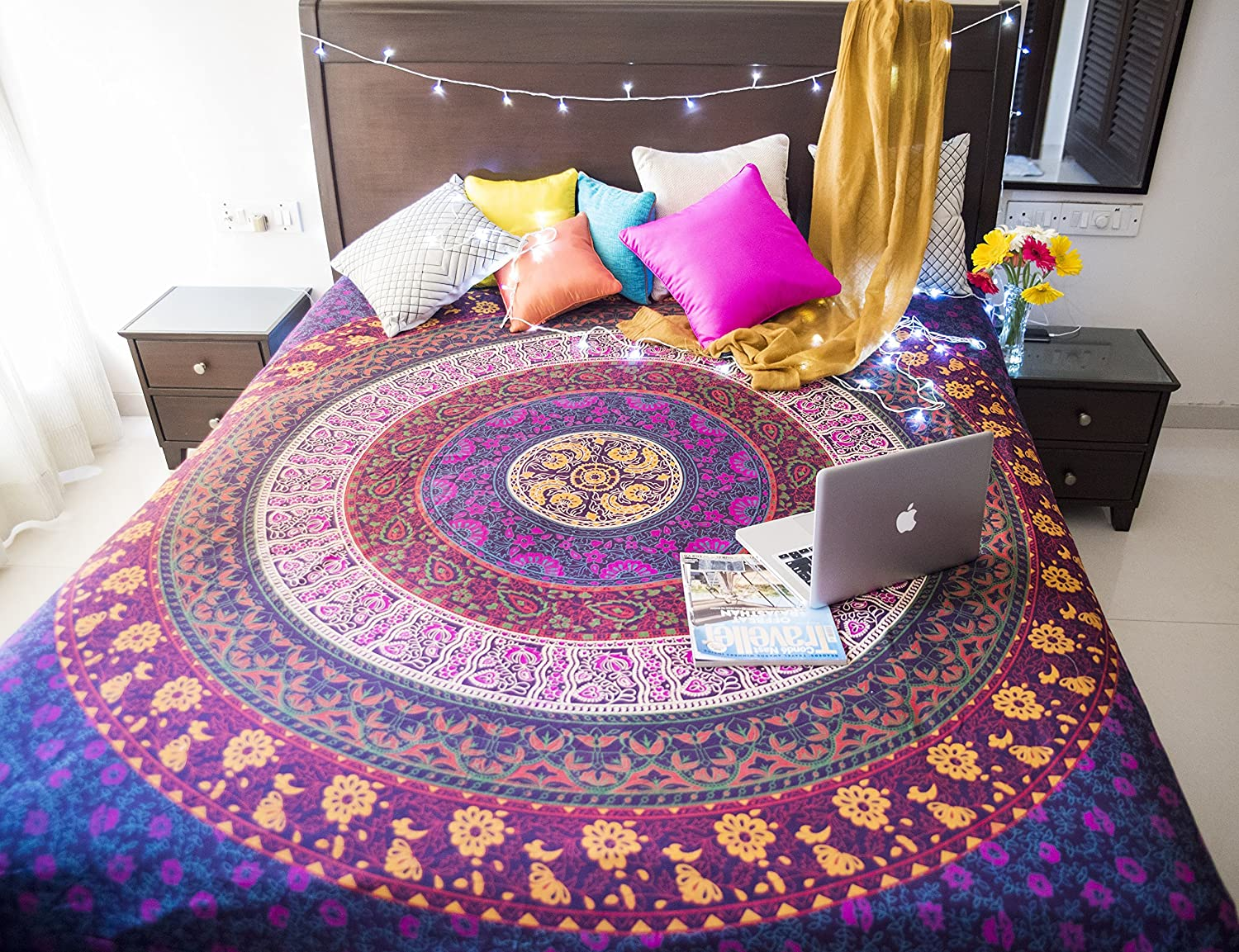 Amazon Folkulture Retro Spectrum Bohemian Hippie Tapestry Wall Hanging For College Dorm Room Indian Mandala Floral Bedding Bedspread Bedroom Or
