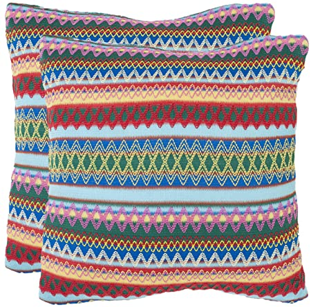 Safavieh Pillow Collection 18-Inch Zig-Zag Pillow, Multicolor, Set of 2