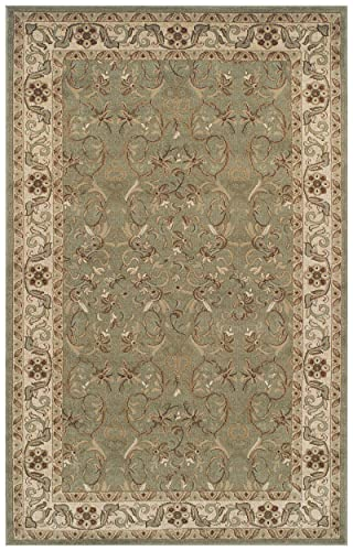 Superior Elegant Heritage Collection Area Rug, 10mm Pile Height with Jute Backing, Timeless and Beautiful Nature Design, Anti-Static, Water-Repellent Rugs – Green, 5 x 8 Rug