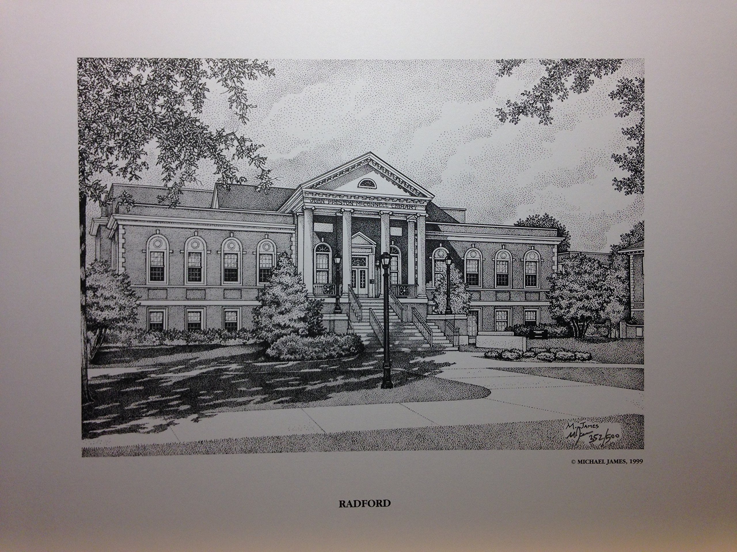 Radford University - McConnell Library 11''x14'' pen and ink print