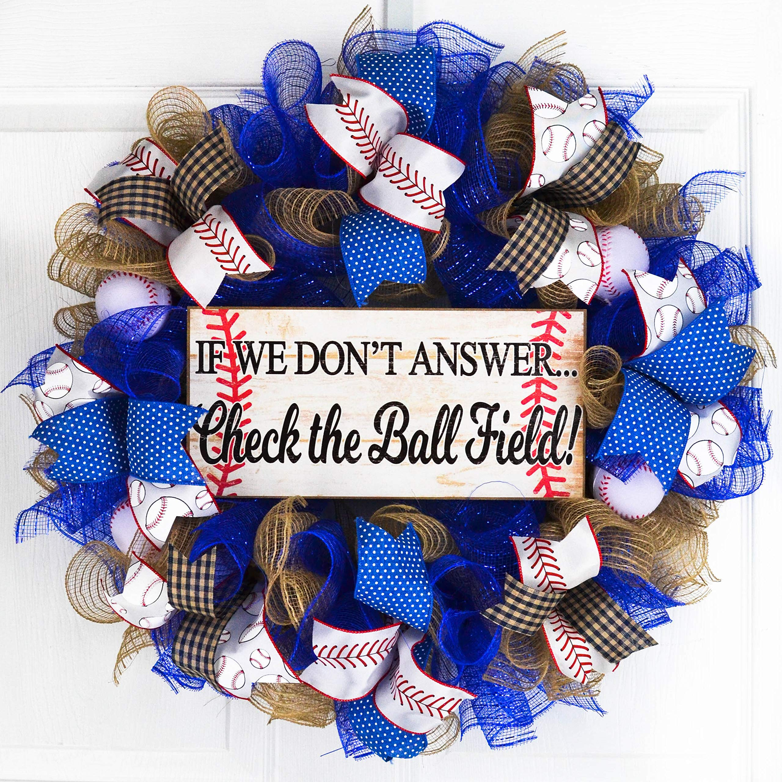 Baseball Ball Field Mesh Door Wreath; If We Don't Answer Baseball Stitching | Royal Blue White Red