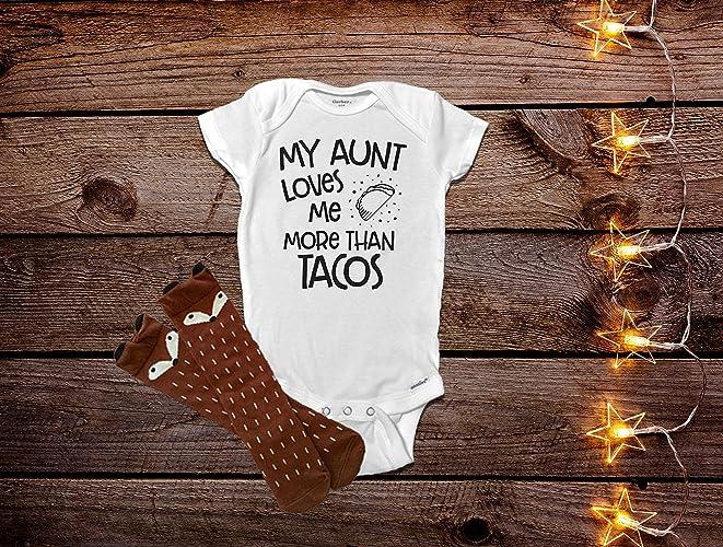 11216f68c Amazon.com: My Aunt Loves Me More Than Tacos Onesie®, Aunt Baby Clothes, Aunt  Onesie, Auntie Onesie®, Funny Baby Clothes, Funny Baby Onesie®: Handmade