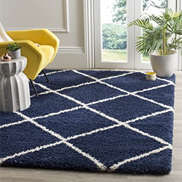 navy blue area rug amazon rugs 8x10 5x7 shag collection ivory feet inches