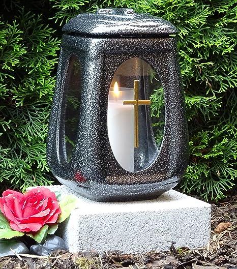 ? Grablaterne mit Sockel und Grabkerze Keramik Silber Glas Kreuz Grabdekoration Grablampe Grabschmuck Grableuchte Laterne Lam