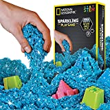 NATIONAL GEOGRAPHIC Sparkling Play Sand - 2 LBS of Shimmering Sand with Castle Molds (Blue) - A Kinetic Sensory Activity