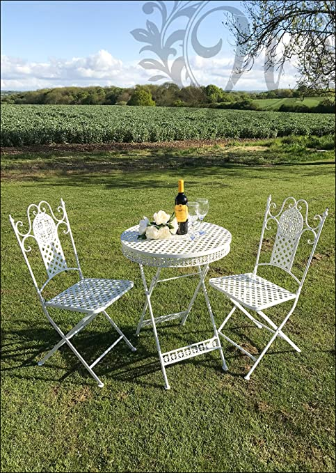 Blanco estilo Vintage juego de jardín de hierro mesa y sillas ...