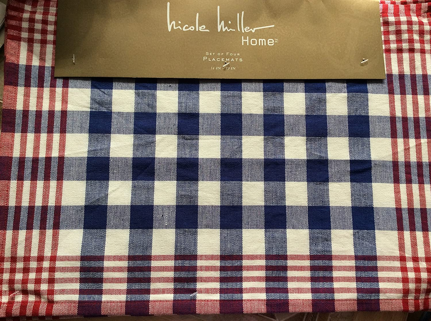 Nicole Miller Red White & Blue Plaid Table Linens (Set of (4) 14