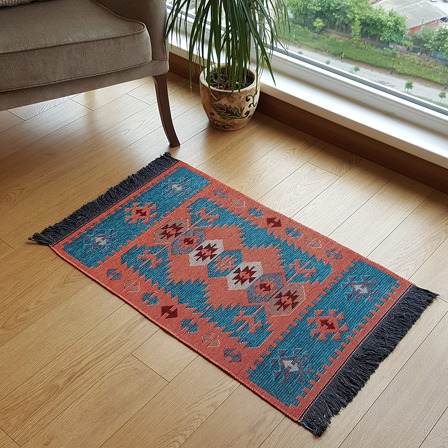 Modern Bohemian Style Small Area Rug, 2' x 3' ft, Washable, Natural Dye Colors, Reversible (Turquoise-Orange)