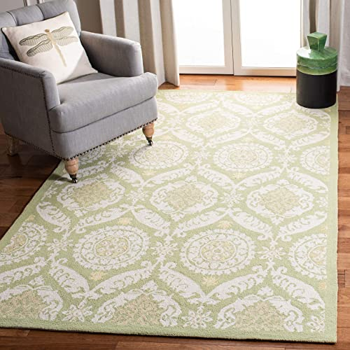 Safavieh Chelsea Collection HK356B Hand-Hooked Green and Beige Premium Wool Area Rug 6 x 9