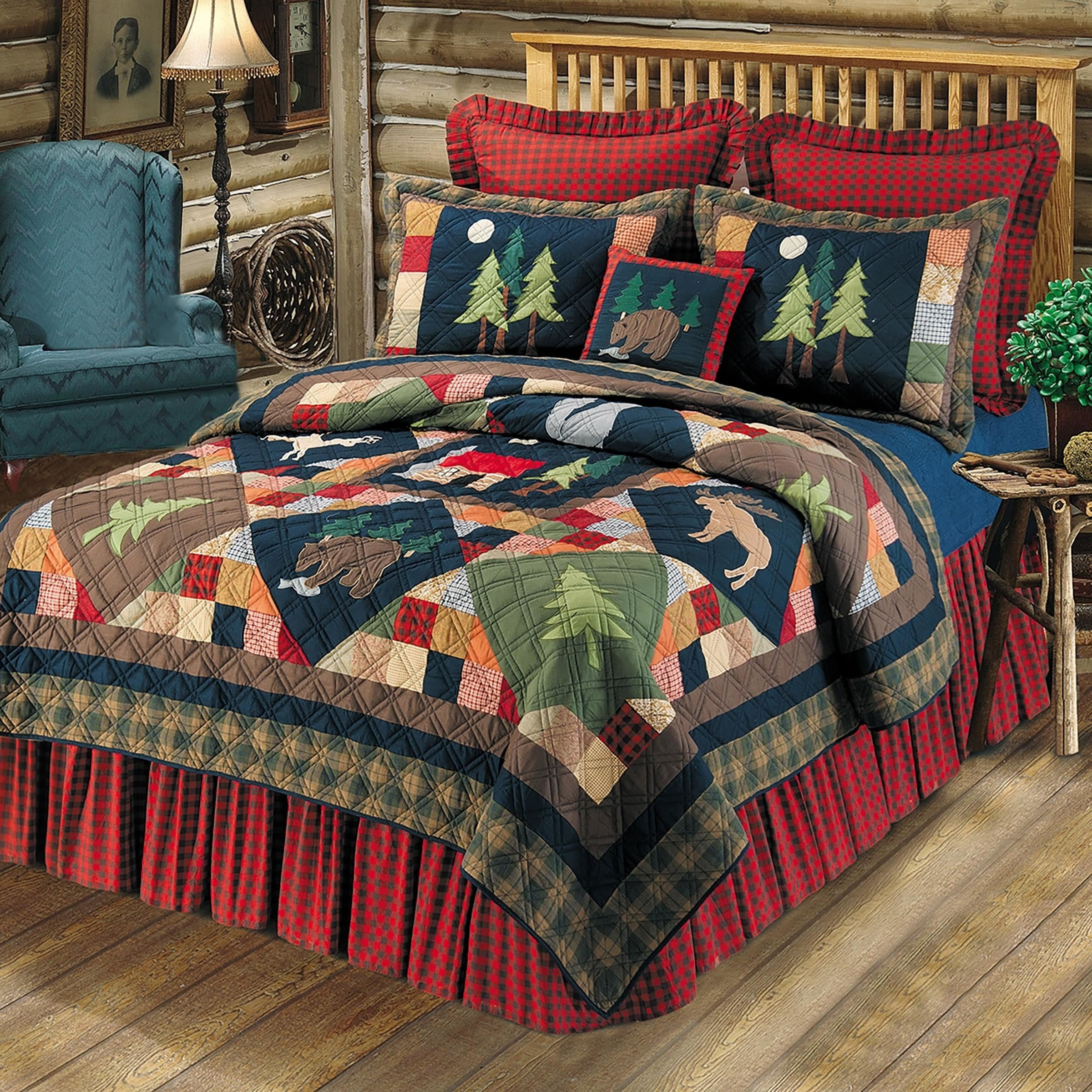 1 Piece Multi Embroidered Nature Patchwork Pattern Quilt Twin Size, Elegant Color Bock Cabin Lodge Theme, Wildlife Animals Print, Decorated Plaid Borders, Brown Navy Blue Green, Vibrant Colors, Cotton