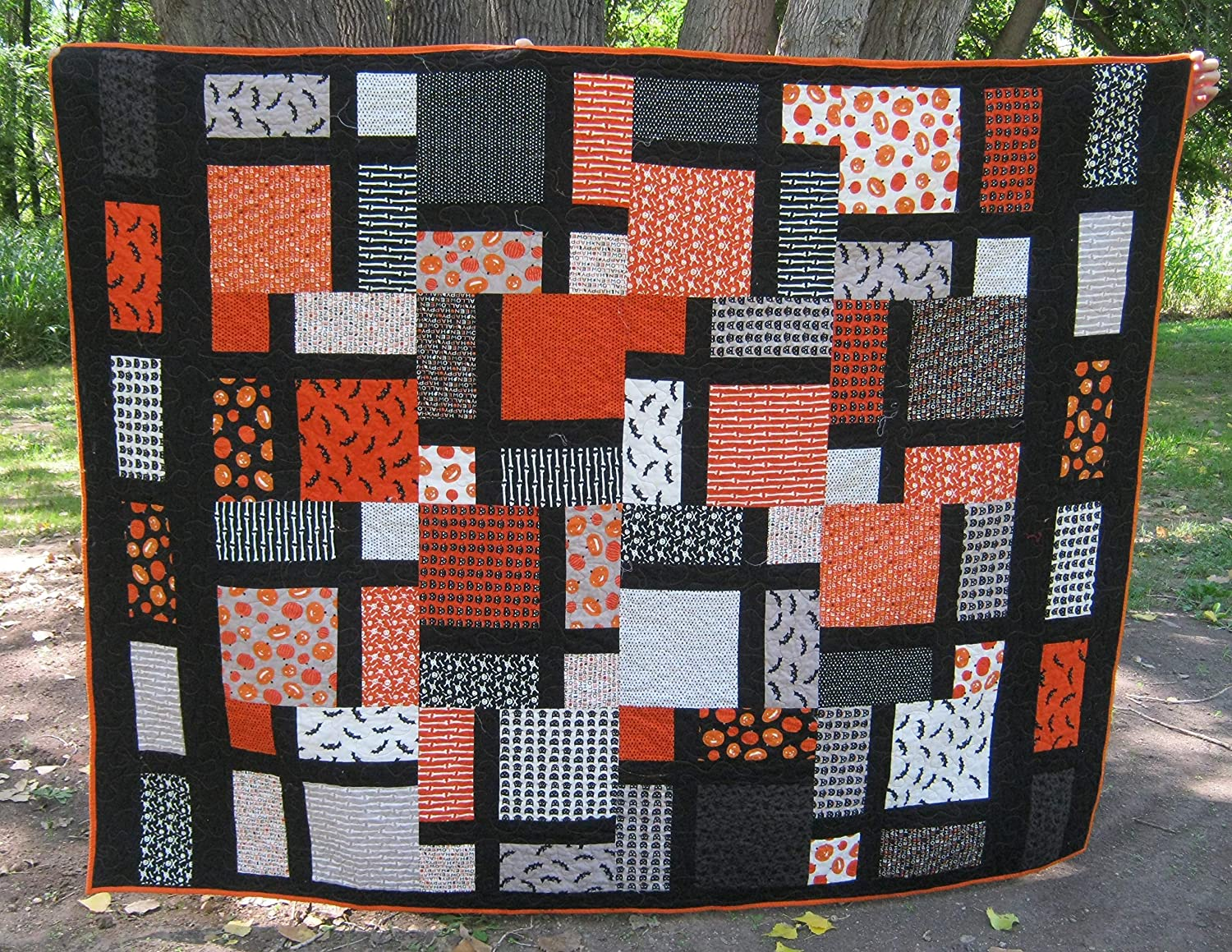 Image of Home and Kitchen Handmade Halloween Quilt Twin, Extra Large Lap Quilt, Mosaic Fiber Art, Quilted Bed Blanket, Pumpkin Scary