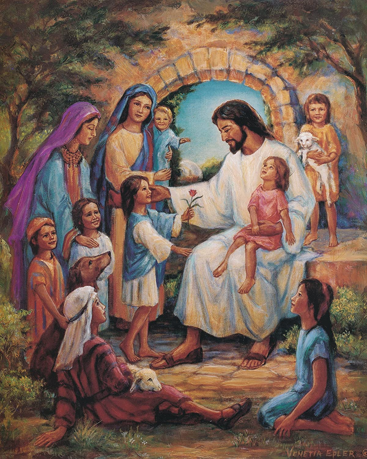 Amazon Com Jesus Christ With Children Religious Home Decor Wall Picture Art Print Posters Prints