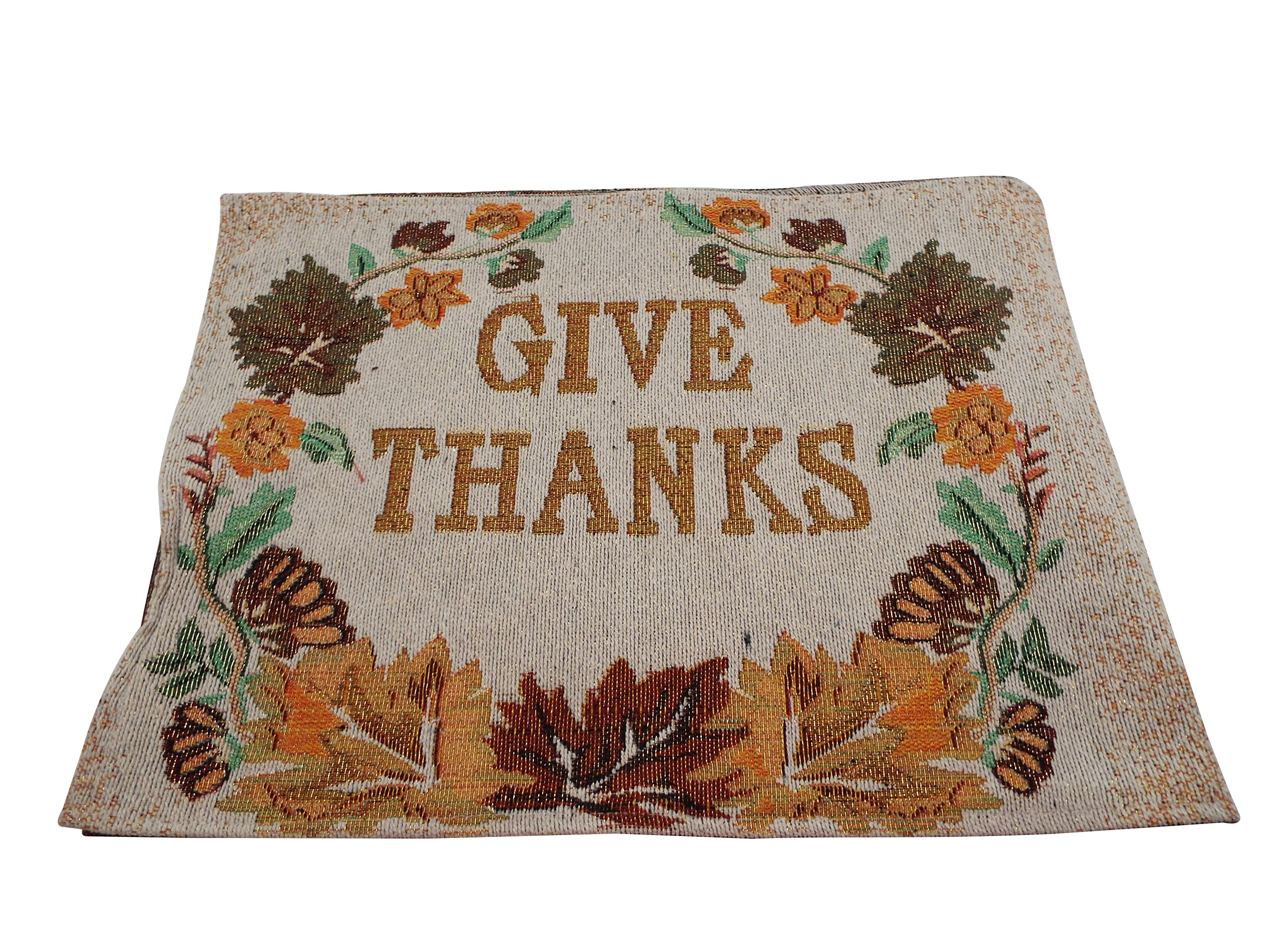 Fall ''Give Thanks'' Placemats - Set of 4 - Tapestry with Gold Block Lettering - 13 x 19 Inches