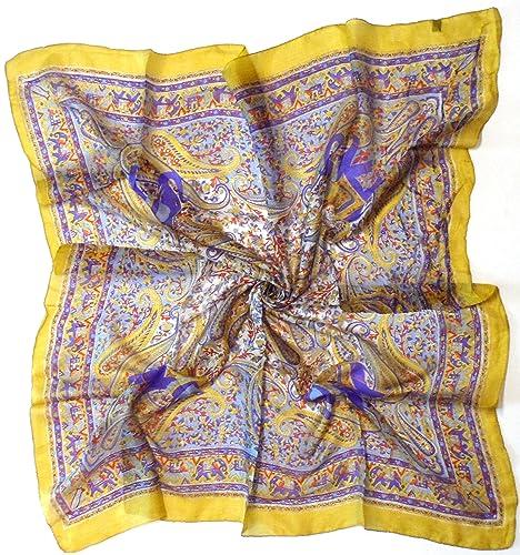 Bees Knees Fashion - Sciarpa - Oro giallo elefante paisley stampa fine pura seta foulard