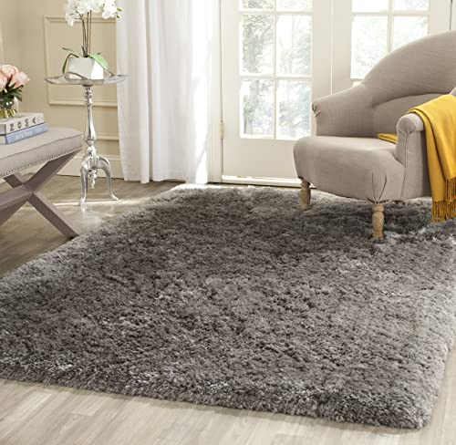 Safavieh Arctic Shag Collection SG270G Handmade Grey Polyester Area Rug 4 x 6