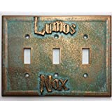 Lumos/Nox (Harry Potter) Triple Light Switch Cover (Aged Patina)