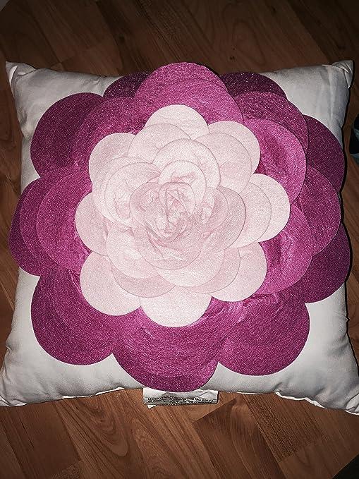 Amazon.com: Cojín decorativo de flores color rosa de 16.0 x ...