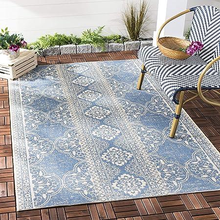 Safavieh Isla Multipurpose Indoor Outdoor Rug 200 X 200 Cm Square Polypropylene Cream Blue Amazon Co Uk Kitchen Home