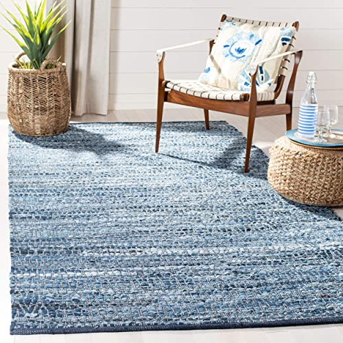 Safavieh Montauk Collection MTK416L Hand-Woven Cotton Area Rug, 5 x 8 , Blue