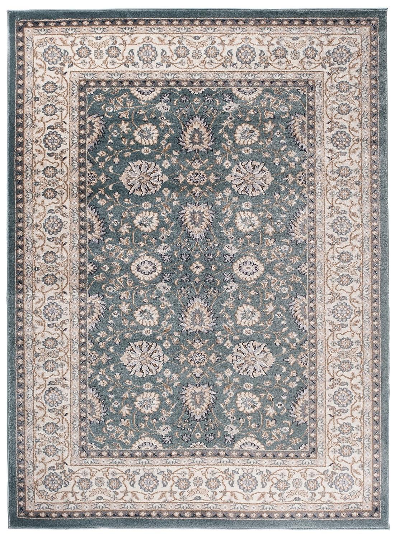 Tapiso Farbeado Teppich Wohnzimmer Klassisch Kurzflor Orientalisch Blau Grün Creme Beige Ziegler Ornament Muster Orientteppich ÖKOTEX 300 x 400 cm
