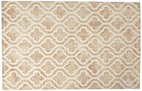 Safavieh Dip Dye Collection DDY537G Handmade Geometric Moroccan Watercolor Beige and Ivory Wool Area Rug 5 x 8