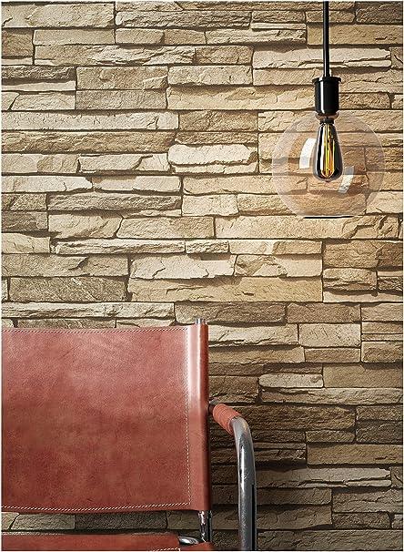 Steintapete Vlies Braun Beige | schöne edle Tapete im Steinmauer Design |  moderne 3D Optik für Wohnzimmer, Schlafzimmer oder Küche inklusive ...