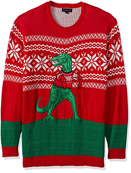 Blizzard Bay Mens Big Tall Mens Trex Hates Sweater Ugly Christmas