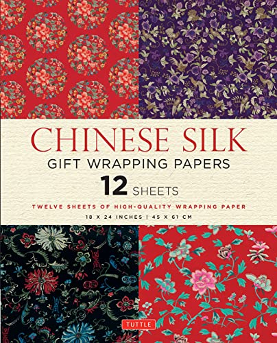 Chinese Silk Gift Wrapping Papers: 12 Sheets of High-Quality 18 x 24 inch Wrapping Paper